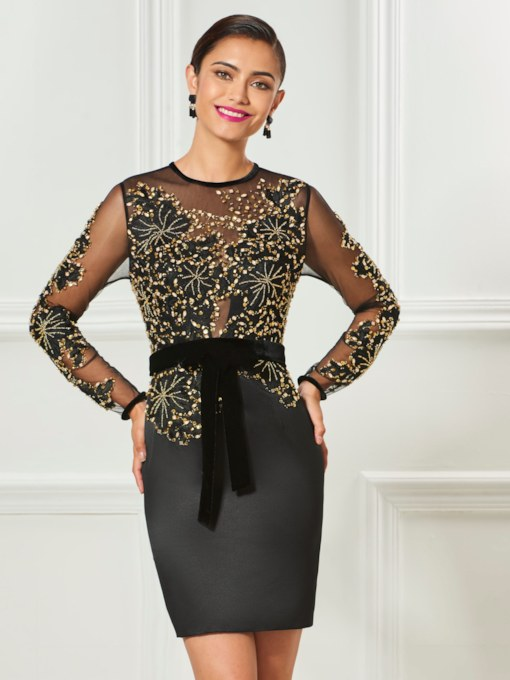 Jewel Sheath Appliques Bowknot Button Sequins Cocktail Dress