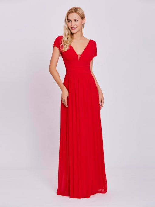 V Neck Zipper-Up A Line Evening Dress