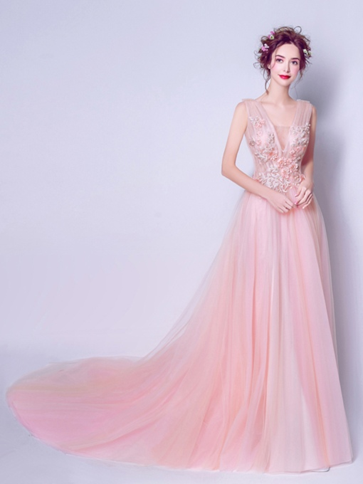 Square Neck Appliques A-Line Flowers Pearls Court Train Prom Dress