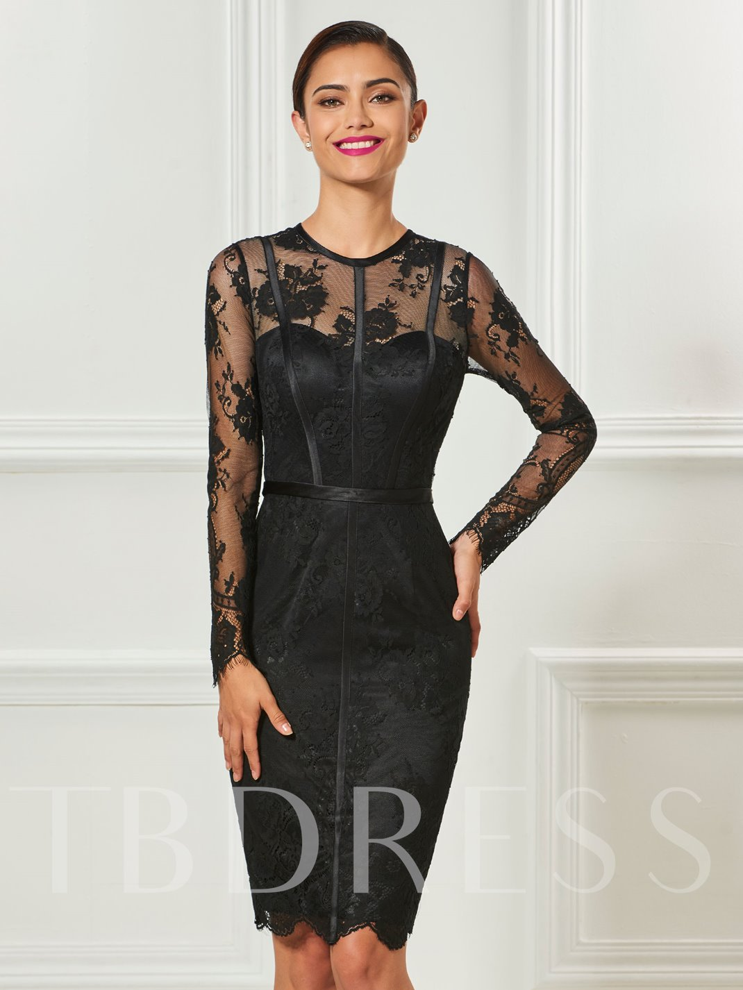 Sheath Jewel Neck Long Sleeves Button Lace Knee-Length Cocktail ...