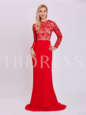Scoop Neck Long Sleeves Lace A Line Evening Dress
