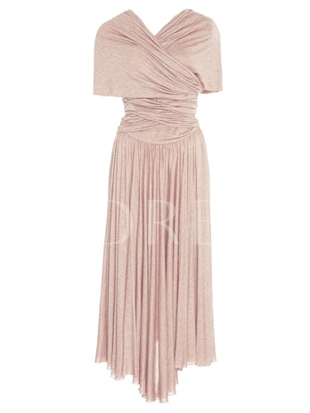 Pink Cap Sleeve Ruffled Women's Day Dress