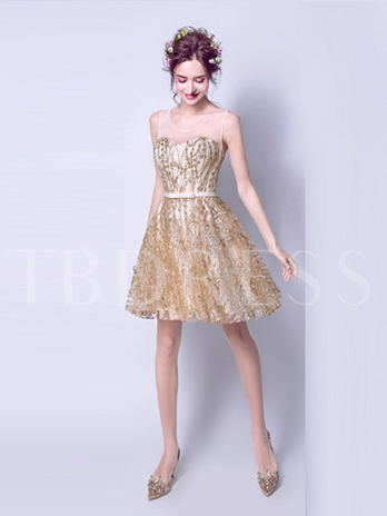 Scoop A-Line Bowknot Sashes Sequins Short Homecoming Dress