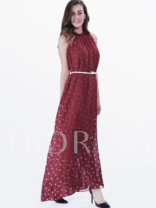 Polka Dots Sleeveless Stand Collar Women's Maxi Dress