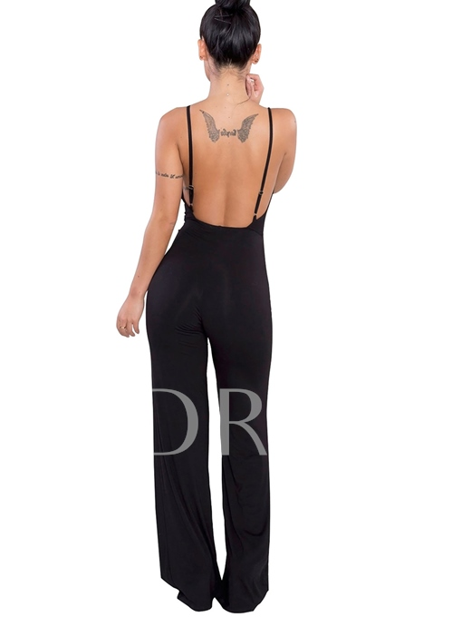 High Waist Backless Lace-Up Full Length Women's Jumpsuit