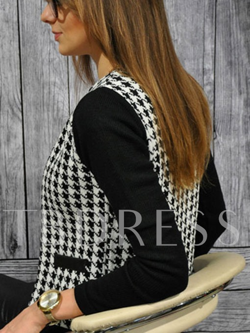 Houndstooth Zipper Round Neck Women's Jacket