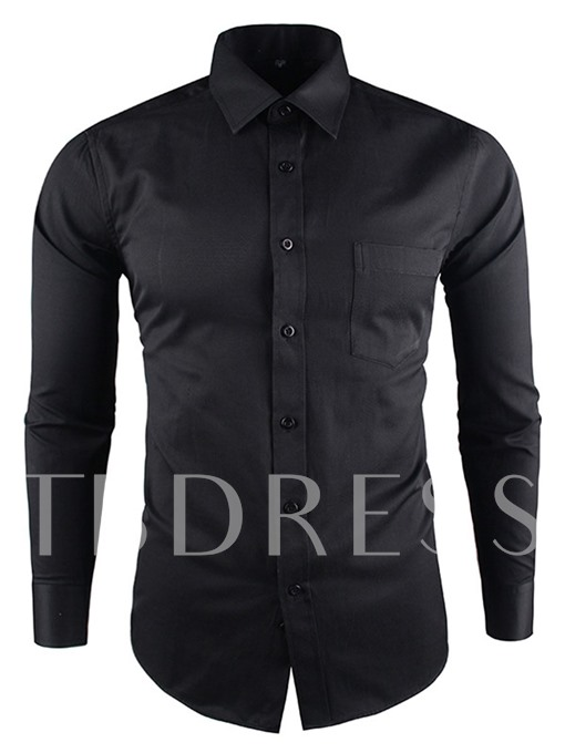 Lapel Solid Color Slim Men's Smart Casual Shirt