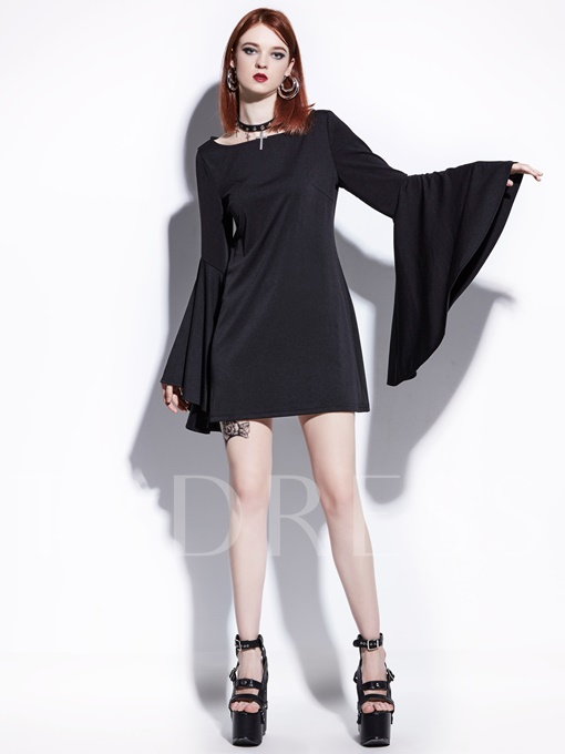 Black Invisible Zipper Women's Bell Sleeve Dress