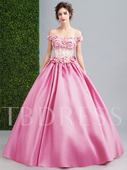 Beaded Bowknot Flowers Lace Pearl Quinceanera Dress