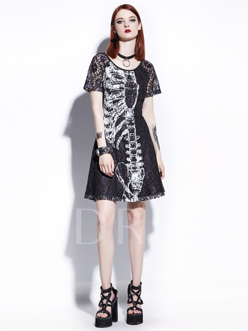 Black Skeleton Pattern Women's Lace Dress