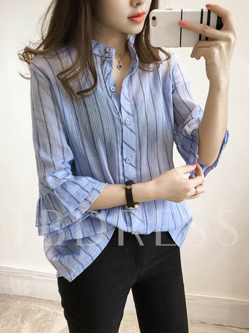 Frill Stripe Single-Breasted Three-Quarter Sleeve Blouse