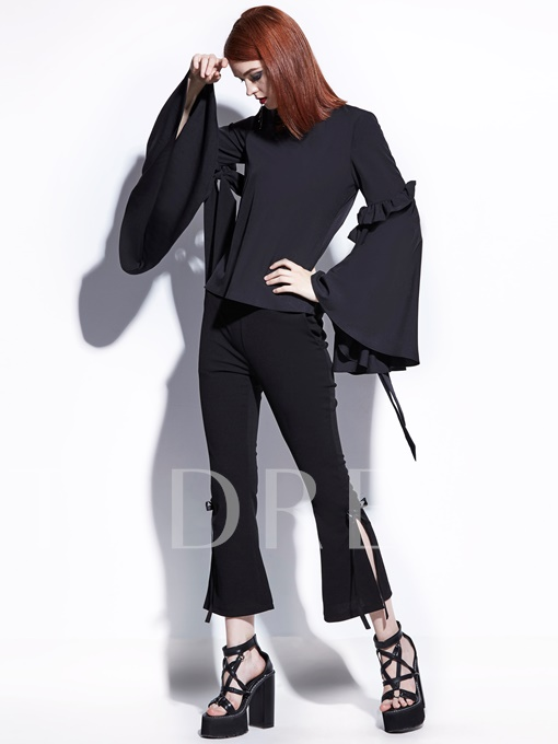 Big Bell Sleeve Round Neck Bow Knot Detail Women's T-Shirt