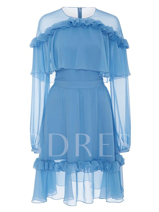 Blue Chiffon Falbala Women's Day Dress