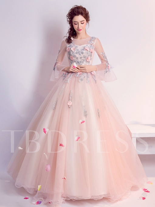 Ball Gown Appliques Flowers Pearls Scoop Floor-Length Quinceanera Dress