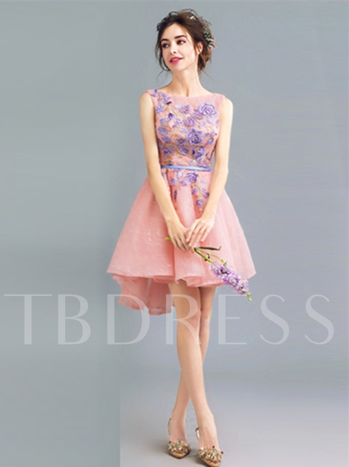 Appliques A-Line Scoop Lace Sashes Backless Mini Homecoming Dress