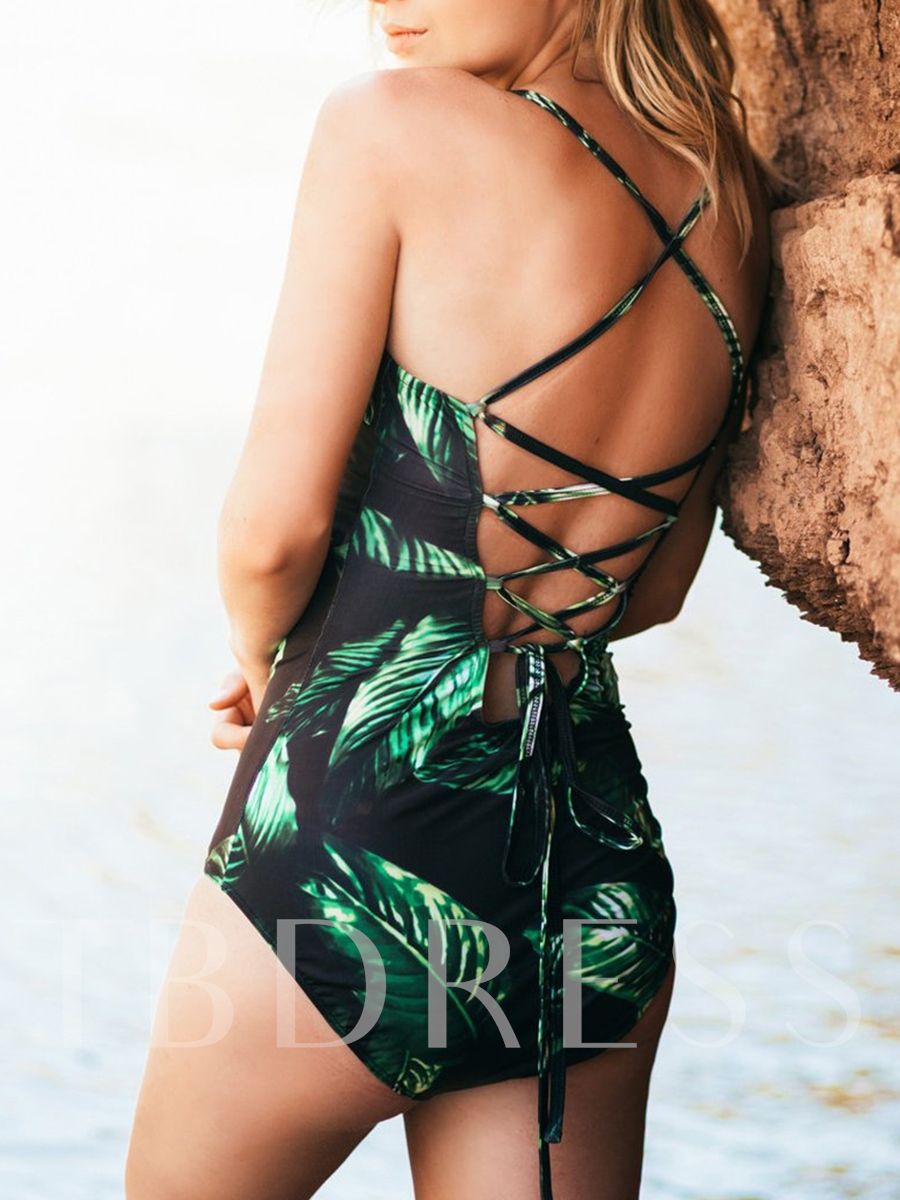 Leaf Print Lace-Up Backless One Piece Swimsuit
