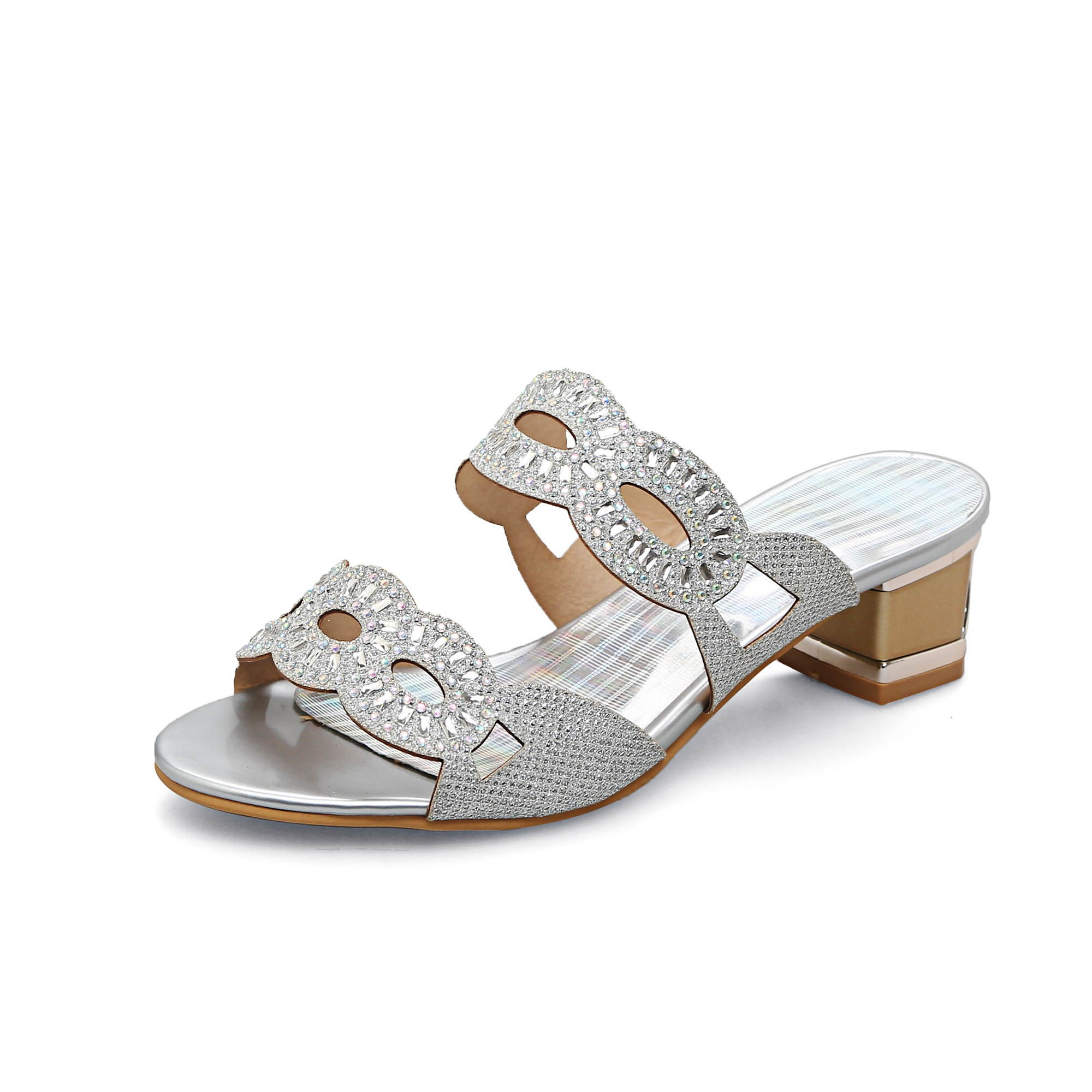 Buy Slip-On Chunky Heel Mesh Hollow Rhinestone Flip Flop Women's Sandals, Summer, 12893997 for $34.99 in TBDress store