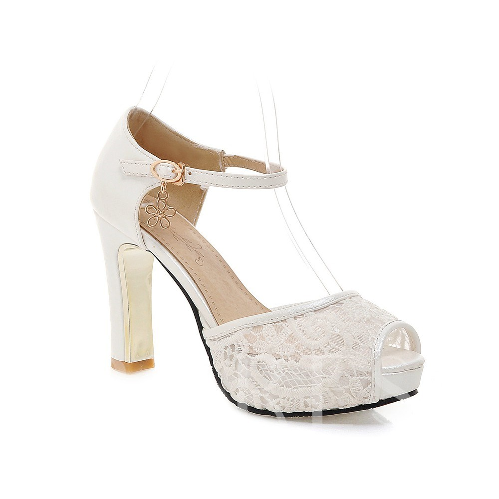 Peep Toe Patchwork Work Plain Lace Platform Thread Women's Heel Sandals