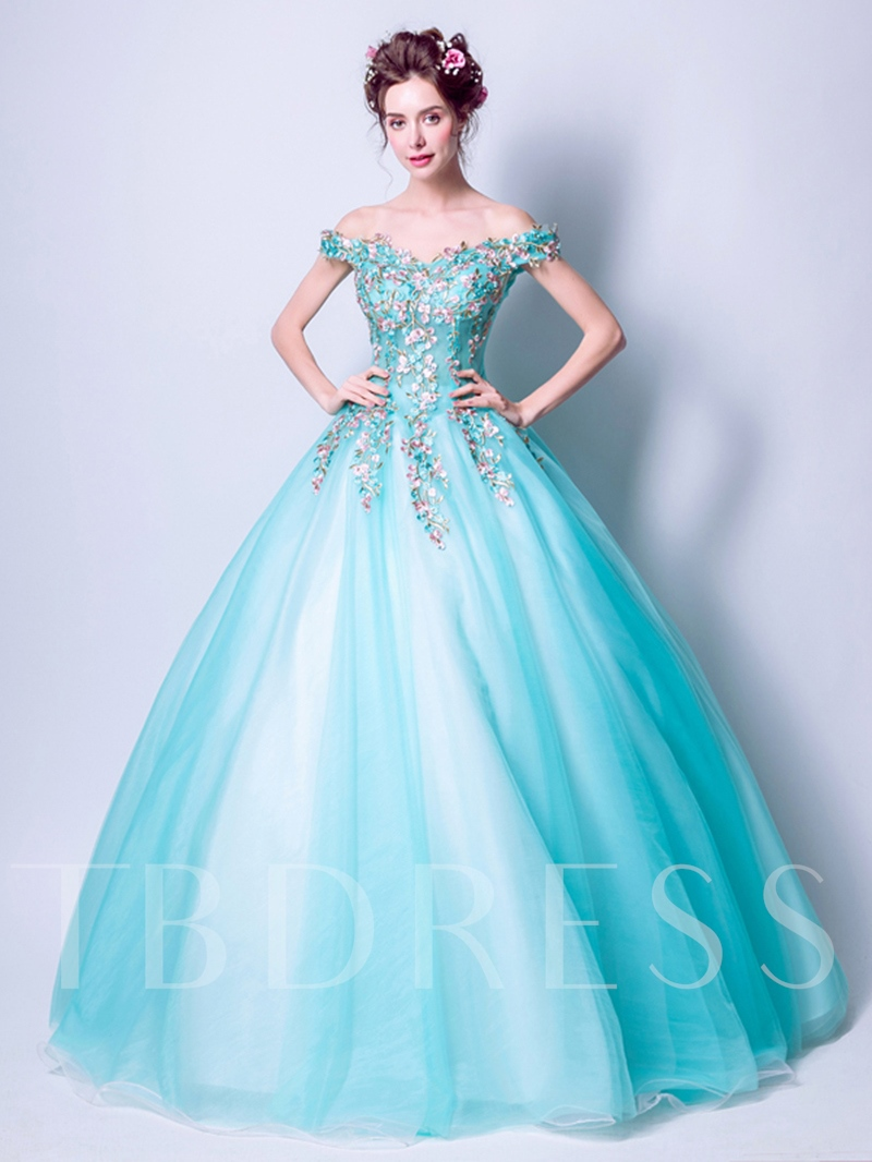 d8b21b99c78 Embroidery Ball Gown Off-the-Shoulder Floor-Length Quinceanera Dress. Sold  Out