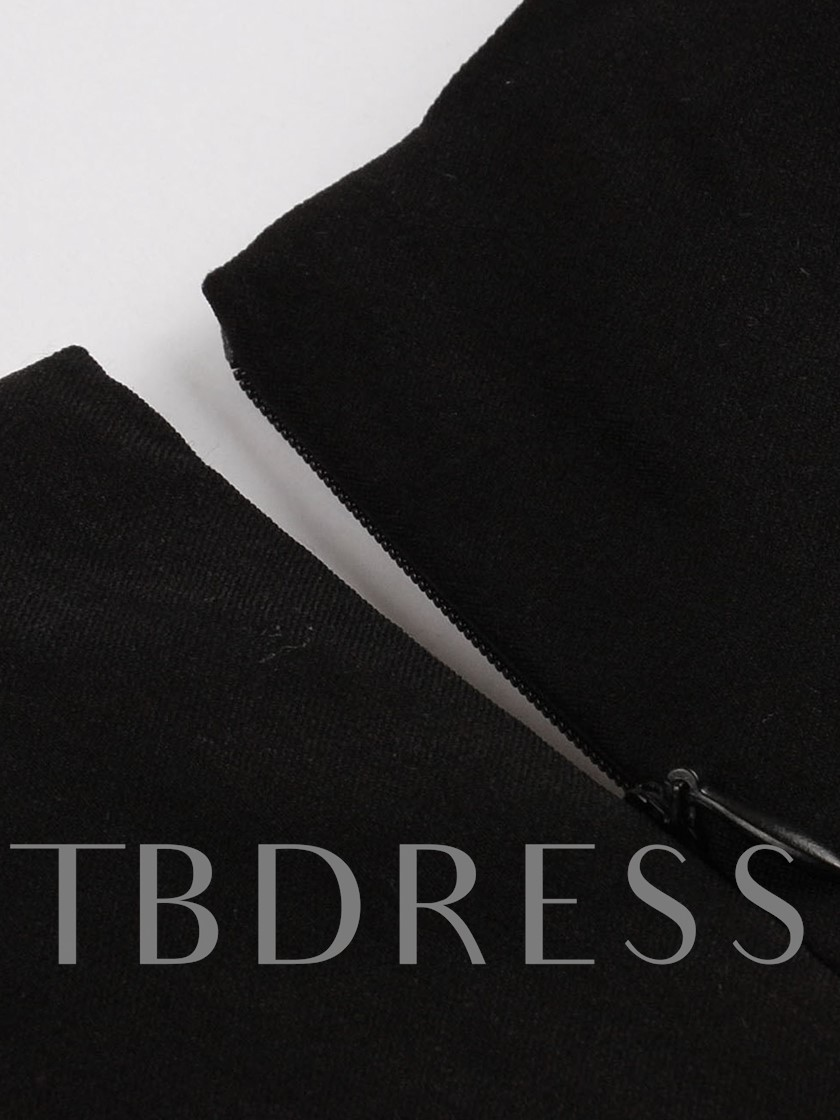 V Neck Black Women's Day Dress