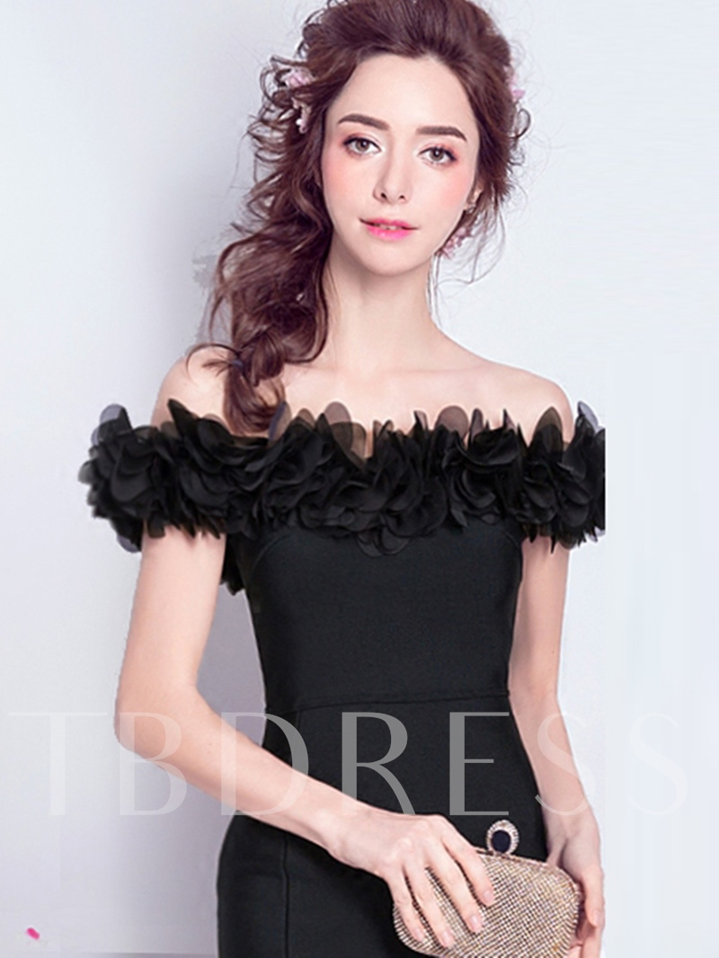 Off-the-Shoulder Sheath Flowers Split-Front Evening Dres