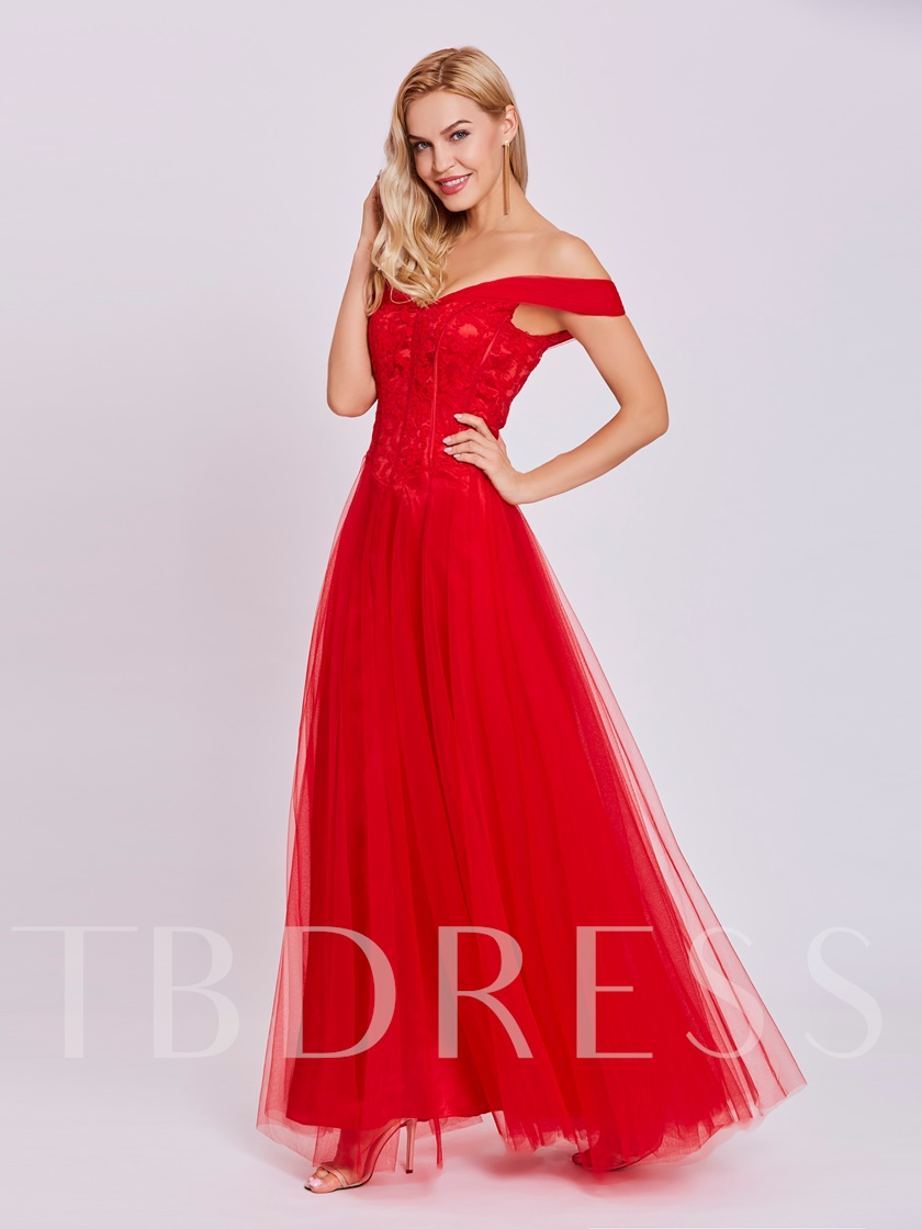 Off-the-Shoulder Lace Red Evening Dress