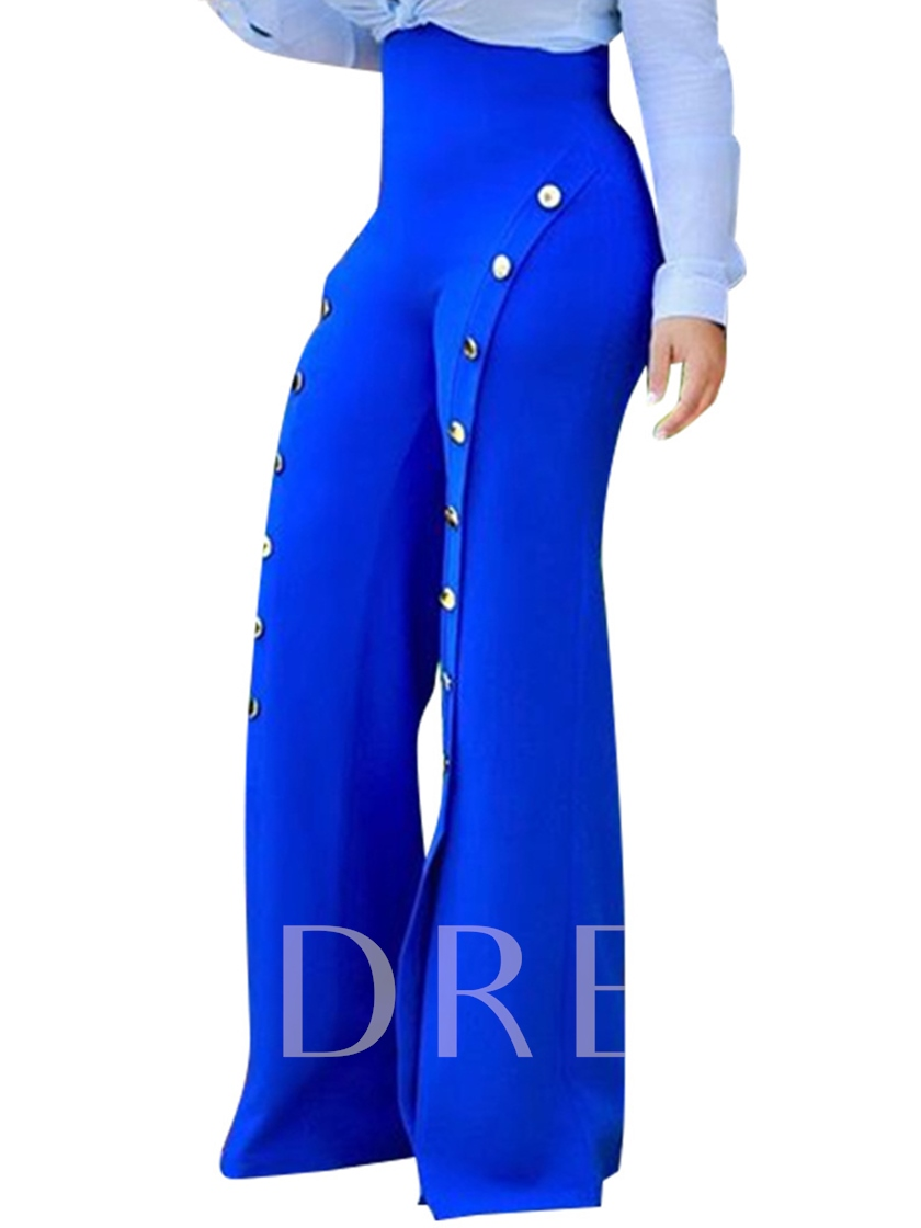 High Waist Button Plain Full Length Loose Women's Pants