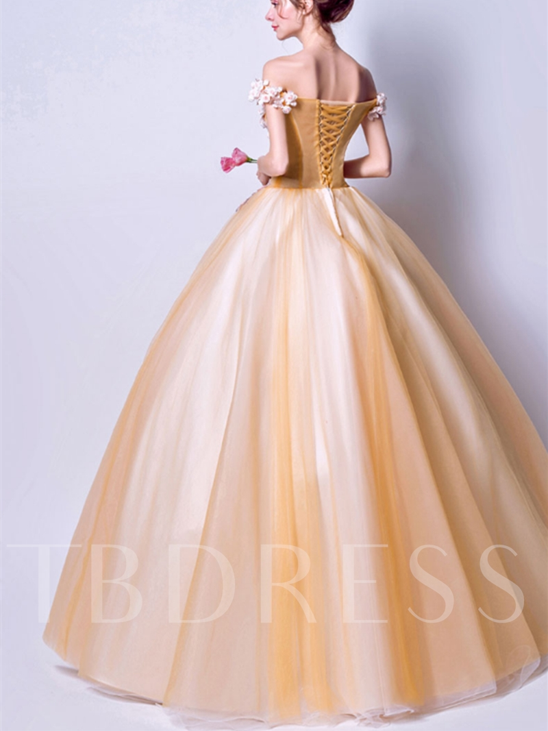 Off-the-Shoulder Appliques Flowers Pearls Ball Gown Floor-Length Quinceanera Dress