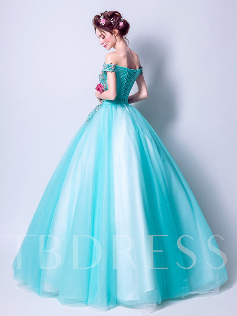 Embroidery Ball Gown Off-the-Shoulder Floor-Length Quinceanera Dress