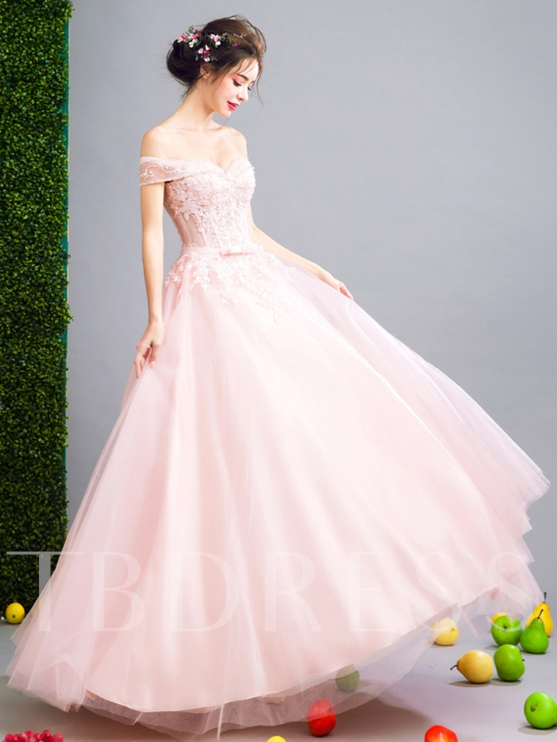 Ball Gown Off-the-Shoulder Appliques Sequins Sashes Bowknot Prom Dress