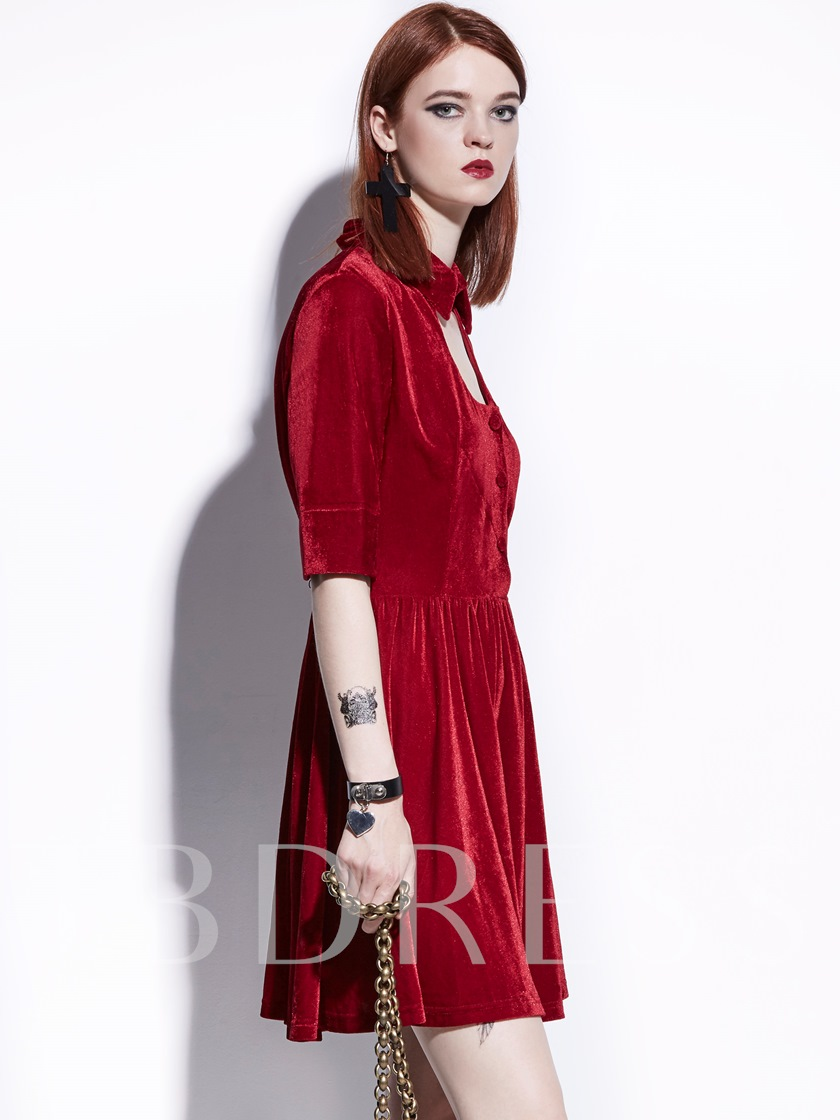 Half Sleeve Red Velvet Women's Day Dress