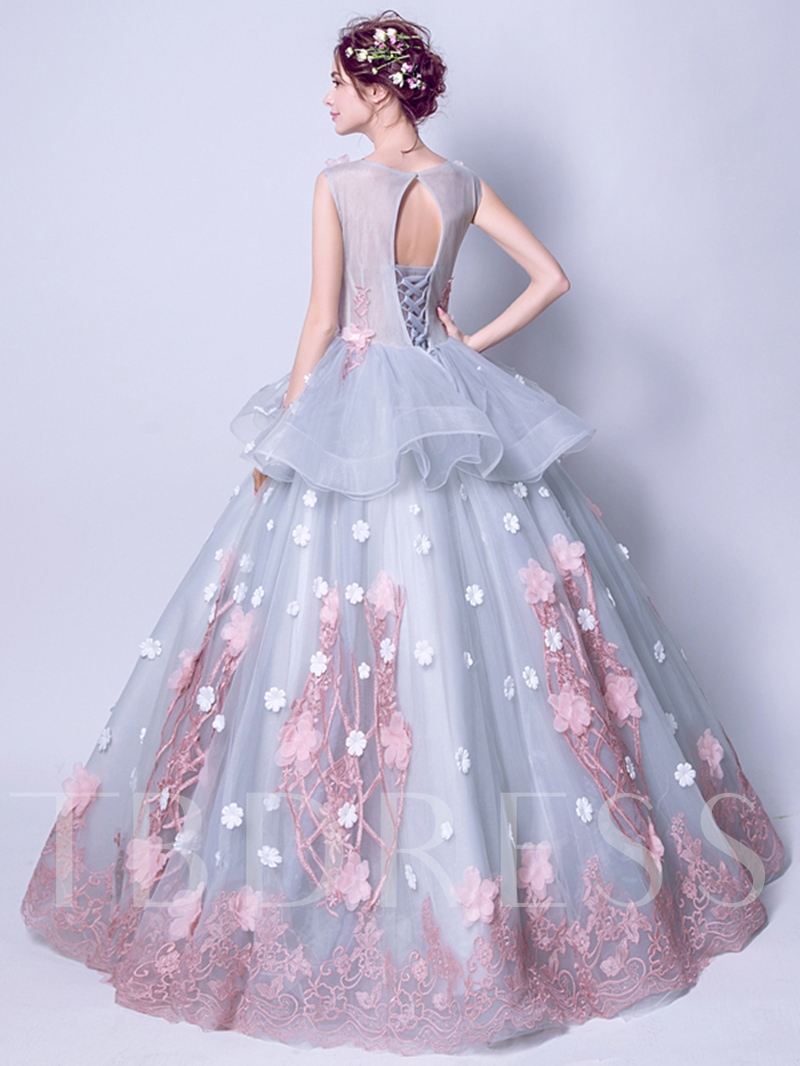 Scoop Appliques Flowers Ball Gown Sashes Pearls Floor-Length Quinceanera Dress