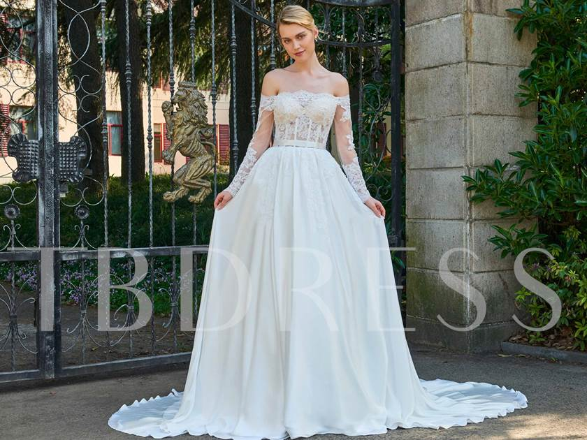 A Line Wedding Gown With Sleeves: Off-The-Shoulder Long Sleeves Appliques A-Line Wedding