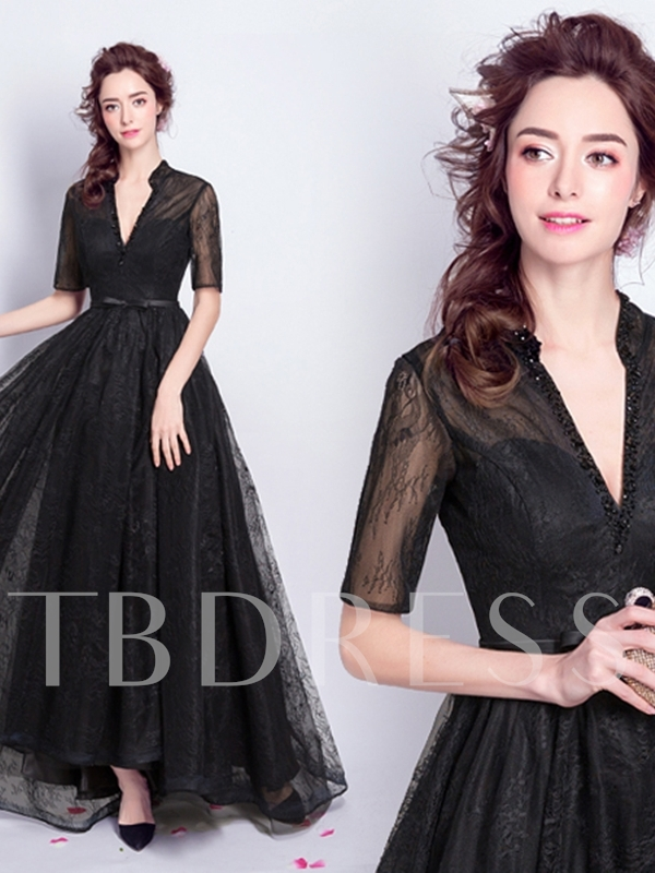 Half Sleeve Beading Ankle-Length Lace Evening Dress
