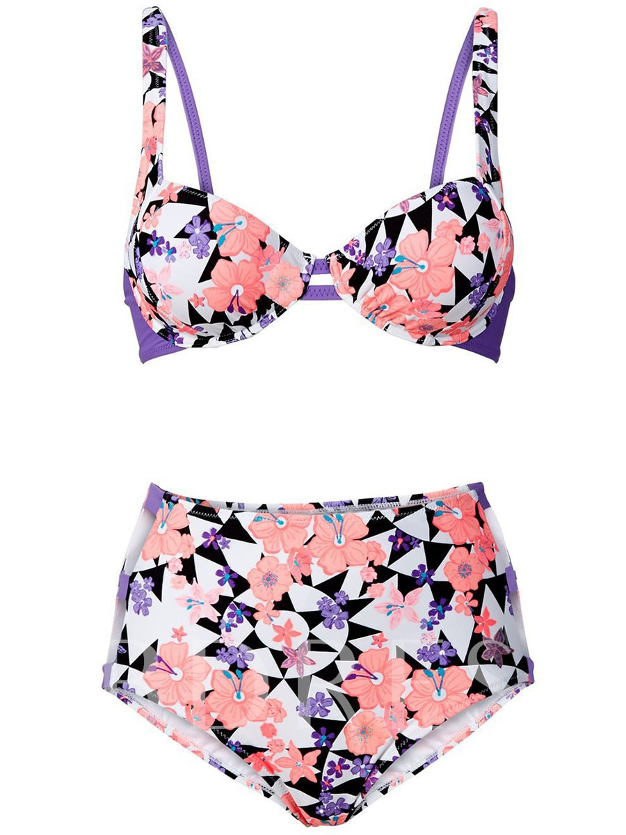 Flower Geometric Print High-Waist Hollow Tankini Set
