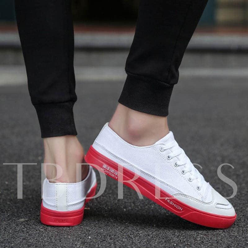 Round Toe Color Block Thread Lace-Up Men's Casual Shoes