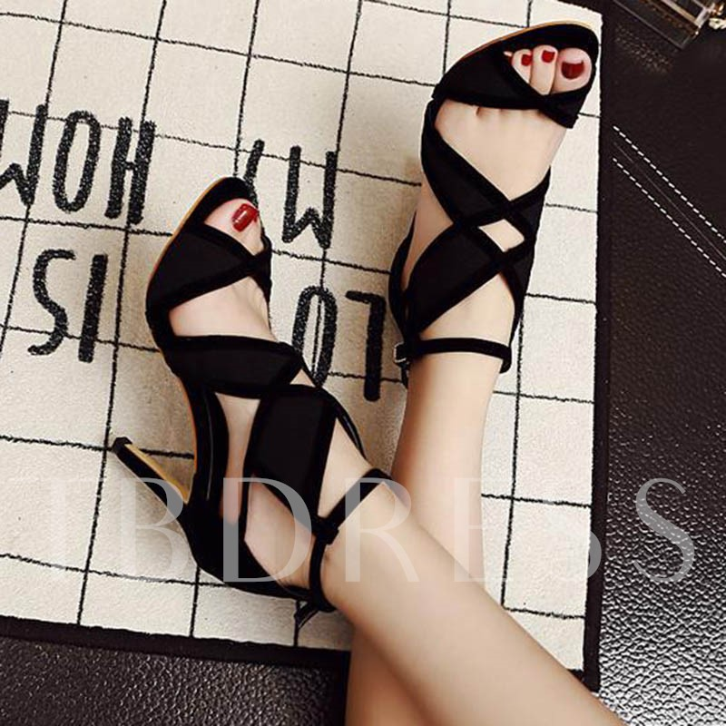 Stiletto Heel Peep Toe Hollow Color Block Suede Strappy Women's Sandals