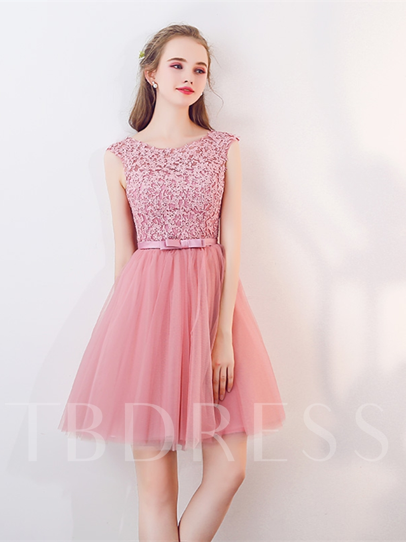 Image of A-Line Appliques Bowknot Rhinestone Sashes Homecoming Dress