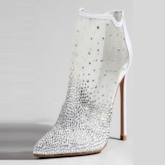 Stiletto Heel Rhinestone Patchwork Plain Back Zip Women's Boots