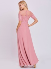 Scoop Sashes Appliques A Line Evening Dress