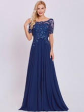Scoop Neck Short Sleeves Beaded Appliques A Line Evening Dress