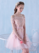 Off-the-Shoulder A-Line Appliques Beading Rhinestone Sequins Homecoming Dress