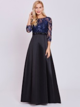 Scoop Neck Appliques A-Line Evening Dress