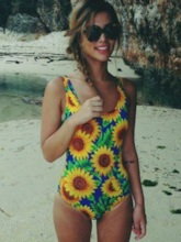 Vitality Sunflower Print Backless One Piece Swimsuit