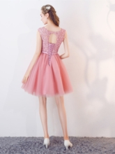 A-Line Appliques Bowknot Rhinestone Sashes Homecoming Dress