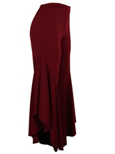 Plain Asymmetric Falbala Loose Women's Bellbottoms