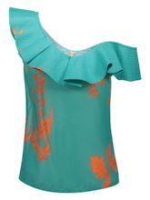 Ruffled Neck Floral One Shoulder Women's Blouse