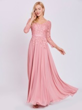 V Neck Long Sleeves Appliques A Line Evening Dress
