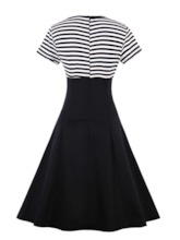 Square Neck Striped Buttons Women's Day Dress
