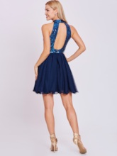 Halter Neck Backless Sequins Homecoming Dress